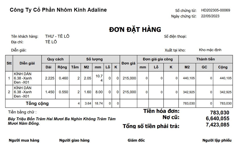 Phần mềm bán hàng nhôm kính sắt thép - Báo cáo bán hàng (Xem in)