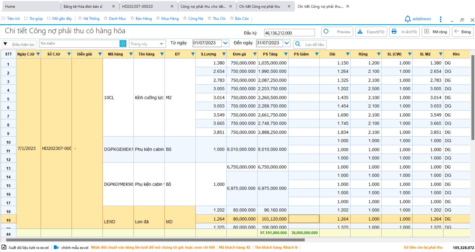 Phần mềm bán hàng nhôm kính sắt thép - Phiếu nhập kho