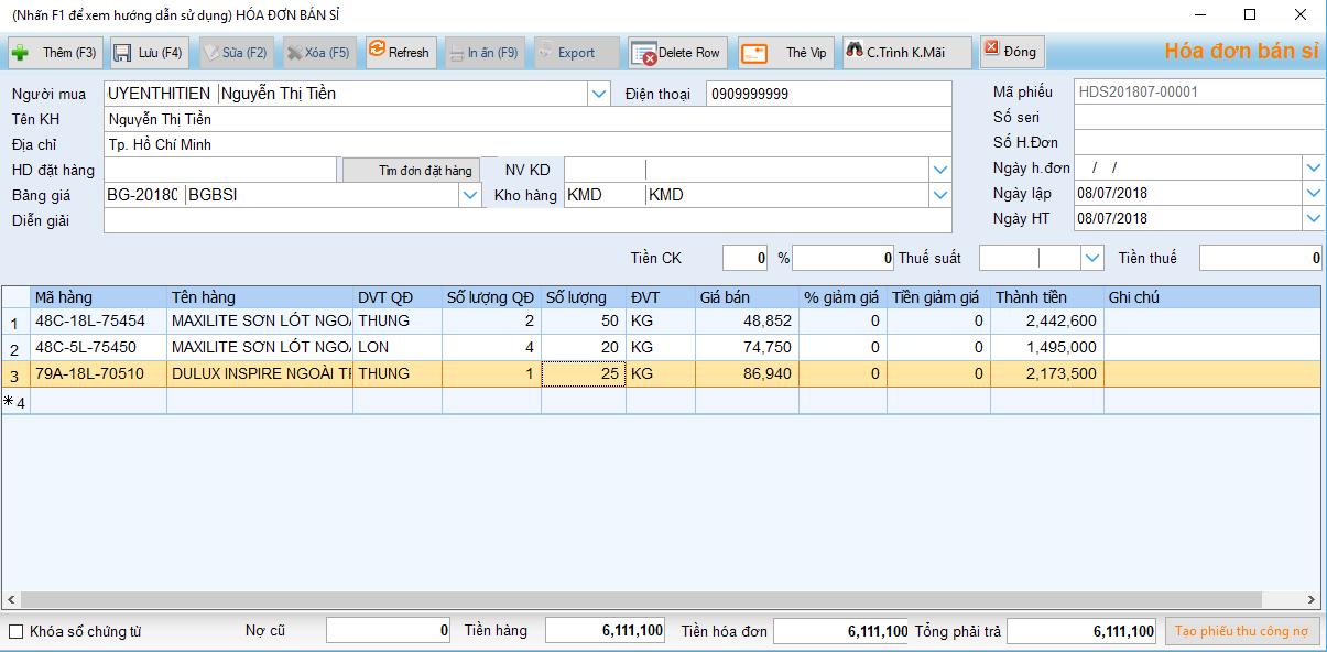 Phần mềm quản lý cửa hàng sơn – hóa đơn bán hàng
