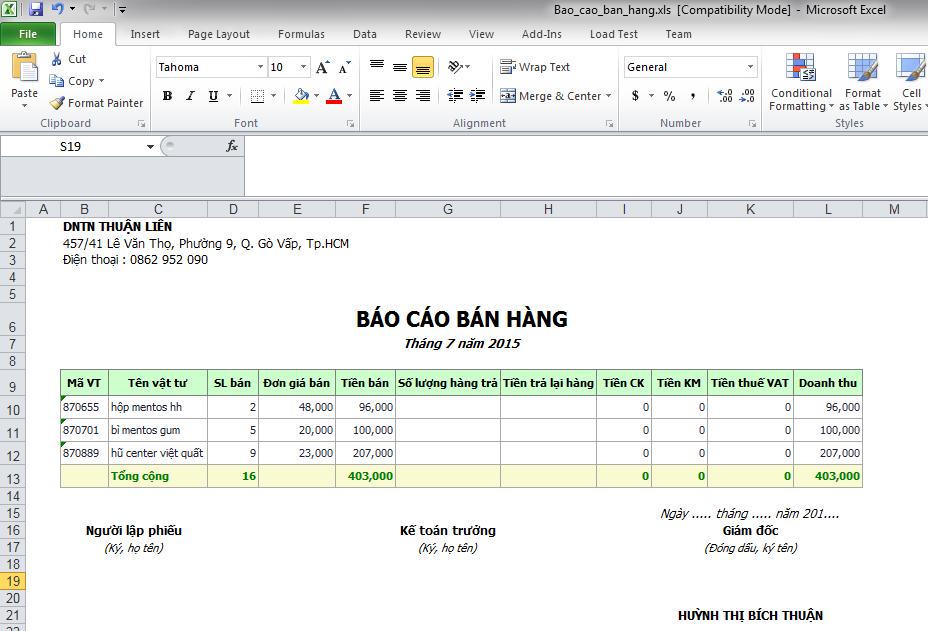 Phần mềm bán hàng hoa và quà tặng - Báo cáo bán hàng xuất Excel
