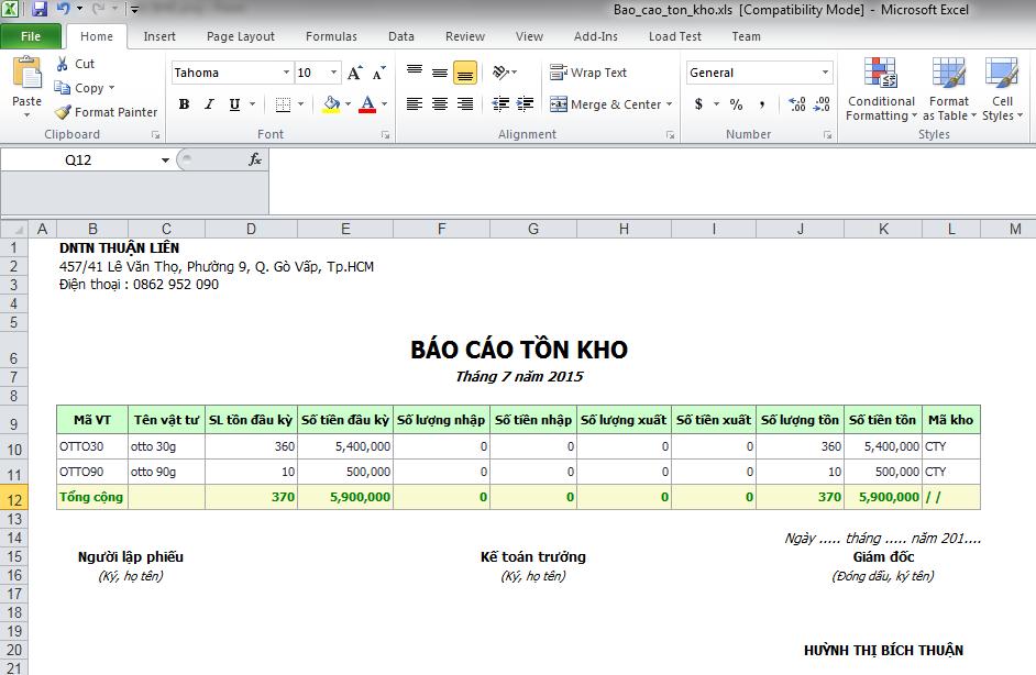 Phần mềm bán hàng hoa và quà tặng - Báo cáo tồn kho xuất Excel